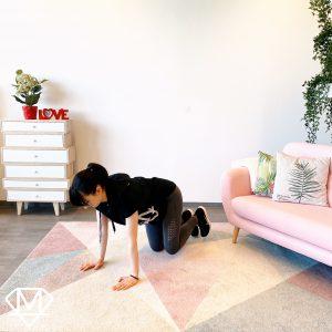 Frau im Vierfüßler Stand die Zuhause trainiert