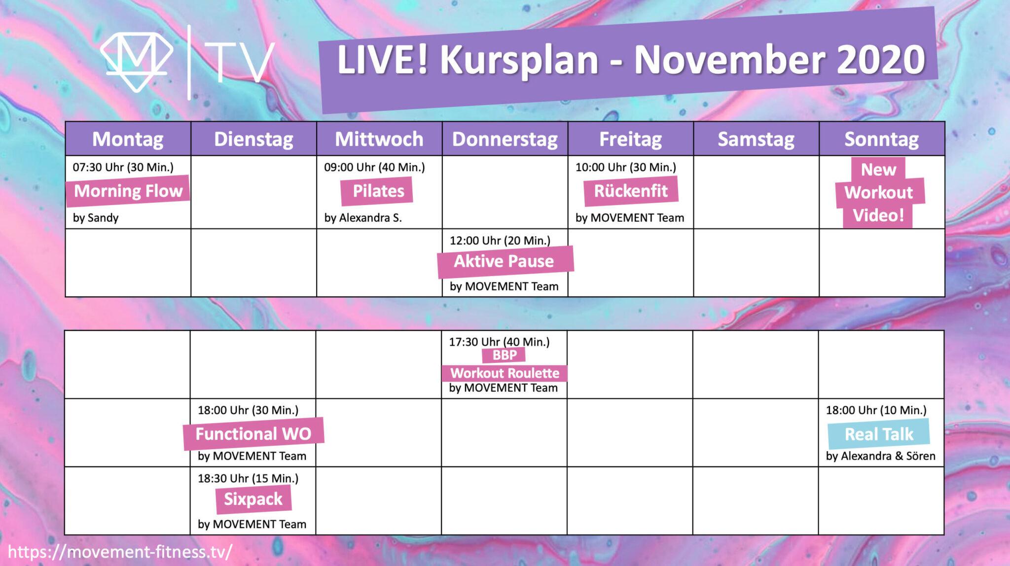 Live Kursplan für unsere streamed Workouts